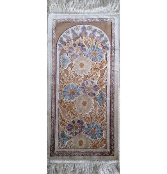 Child Size Velvet Floral Prayer Rug - White