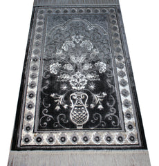 Velvet Plush Luxury Floral Daisy Vase Prayer Rug Black / White