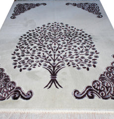 Plush Velour Tree Prayer Rug Silver Grey Black