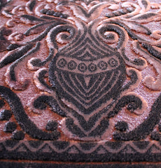 Velvet Plush Luxury Floral Vase Prayer Rug Salmon Pink / Black