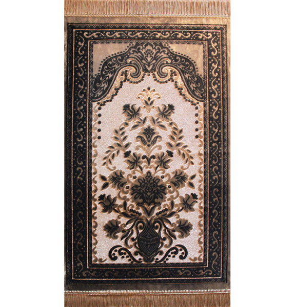 Velvet Plush Luxury Floral Vase Prayer Rug Golden Beige / Black