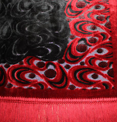 Plush Velvet Crescent Prayer Rug Red Black