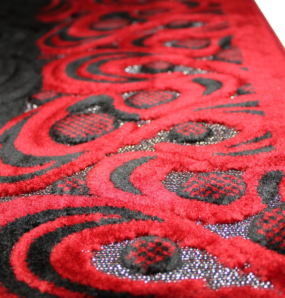 Plush Velvet Crescent Islamic Prayer Rug Red & Black
