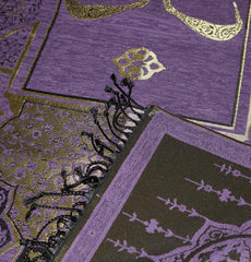 Chenille Arabesque Waw Prayer Mat - Purple