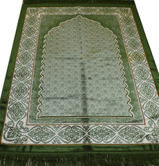 Muslim Prayer Rug Vevet Plush Wide Green Damask Scales