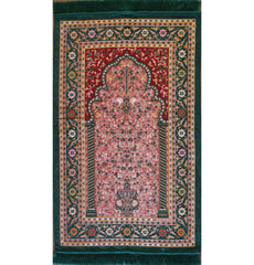 Luxury Embroidered Chenille Prayer Mat Gift Box Set Green Salmon Pink