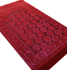 Luxury Islamic Turkish Prayer Rug Velvet Floral Daisy Red