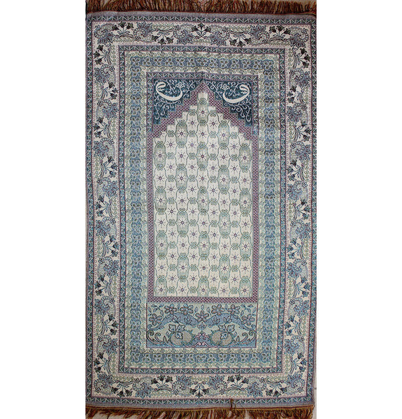 Shimmery Thin Floral Islamic Turkish Prayer Mat Waw