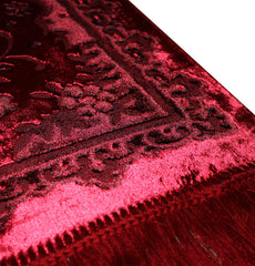 Luxury Islamic Turkish Prayer Rug Velvet Floral Red