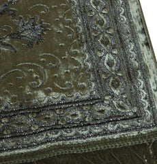 Luxury Islamic Turkish Prayer Rug Velvet Floral Dark Green