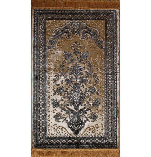 Luxury Islamic Turkish Prayer Rug Velvet Floral Gold Yellow