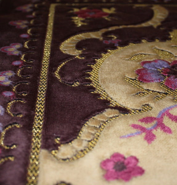 Plush Velvet Floral Vase Islamic Prayer Rug Purple & Creme