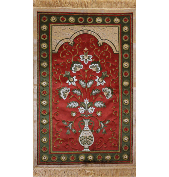 Plush Velvet Floral Case Islamic Prayer Rug Orange