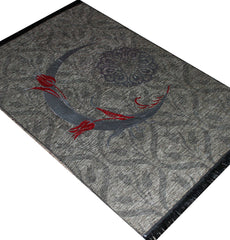 Islamic Prayer Mat Thin Chenille Crescent Tulip Beige Grey
