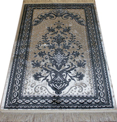 Turkish Luxury Islamic Prayer Rug Velvet Floral Black White Ivory