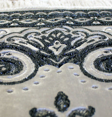 Luxury Islamic Prayer Rug Velvet Floral Black White Ivory