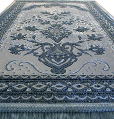 Luxury Islamic Turkish Prayer Rug Velvet Floral Silver Light Blue