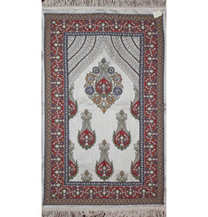 Large Wide Luxury Thin Embroidered Prayer Mat Gift Box Set 'Jacobean' Tulip- Ivory / Red