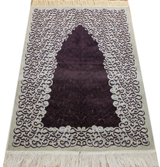 Plush Velvet Simple Swirl Islamic Prayer Rug Purple Creme