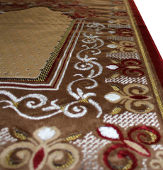 Plush Velvet Islamic Prayer Rug Red Floral Vine Namaz Sajadah