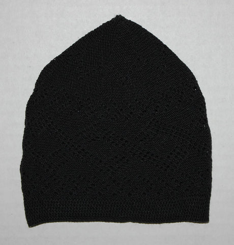 Men's Black Knit Cotton Kufi Prayer cap tatke