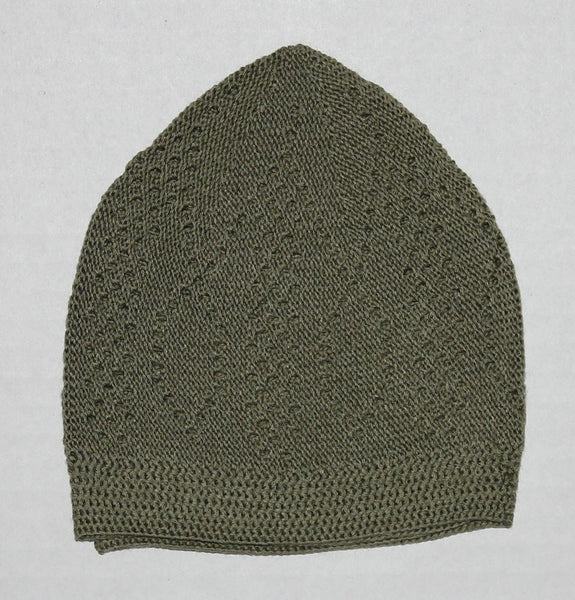 Men's Green Knit Cotton Kufi Prayer cap tatke