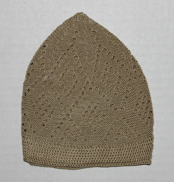 Men's Beige Knit Cotton Kufi Prayer cap tatke