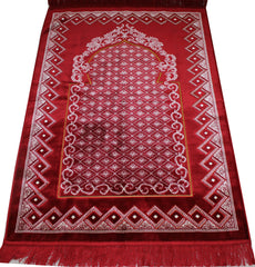 Plush Extra Large Wide Adult Prayer Rug Janamaz Red