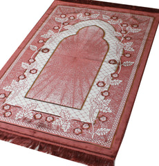Plush Extra Large Wide Adult Prayer Rug Janamaz Floral Pink