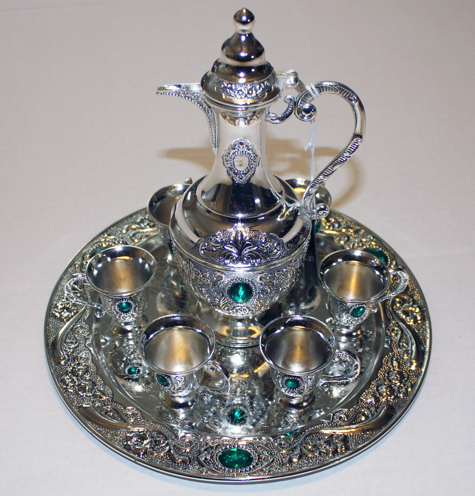 Relatively Zam Zam Silver Plated Giftware Serving Set Jeweled  VL82