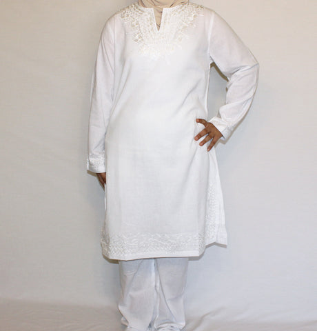 Islamic Woman Hajj Umrah Cotton Kurti Tunic Set White