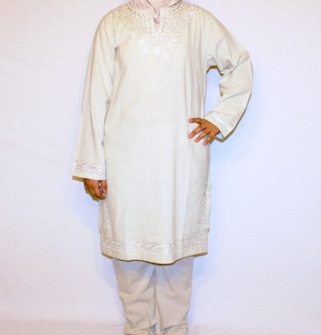 Islamic Woman Hajj Umrah Cotton Kurti Tunic Set Beige