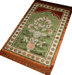 Plush Velvet Green Orange Islamic Prayer Rug Floral