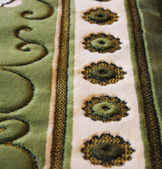 Plush Velvet Green Islamic Prayer Rug Floral