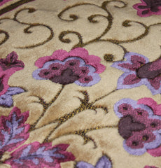 Plush Velvet Purple Creme Islamic Prayer Rug Floral