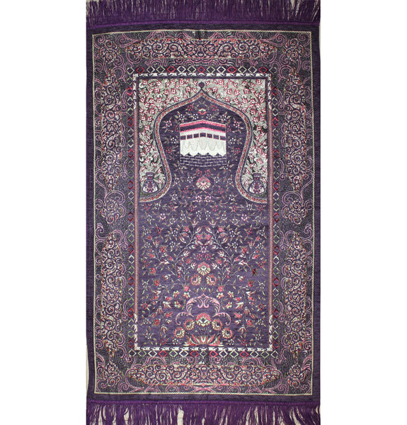 Turkish Muslim Embroidered Prayer Carpet Kaba Mecca