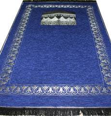 Islamic Prayer Mat Chenille Kaba - Blue