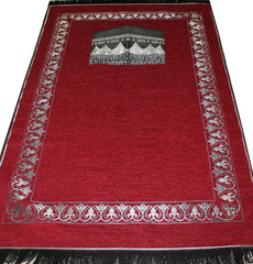 Islamic Prayer Mat Chenille Kaba - Red