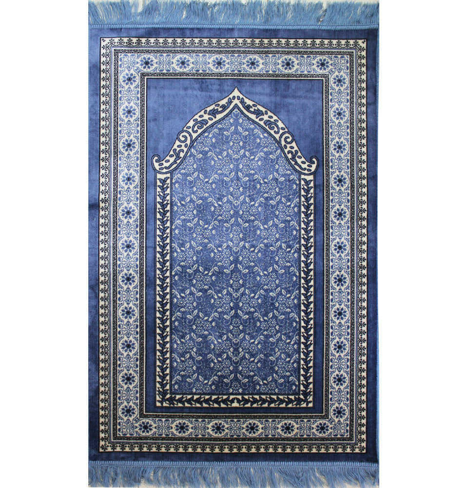 Thin Velvet Floral Islamic Prayer Rug Blue