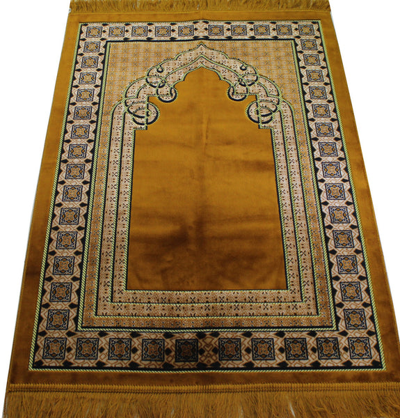 Extra Large Wide Velvet Islamic Prayer Rug Gold