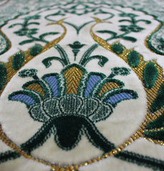 Floral Leaf Velvet Islamic Prayer Rug Green & Creme