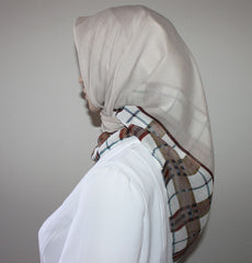 Turkish Yazma Hijab Cotton Beige Plaid
