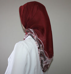 Turkish Yazma Hijab Cotton Red Paisley