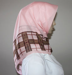 Turkish Yazma Hijab Cotton Pink Plaid