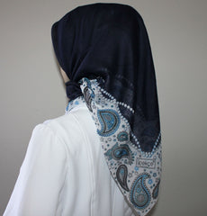 Turkish Yazma Hijab Cotton Blue Paisley