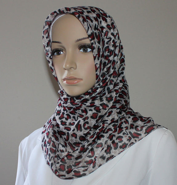 Turkish Yazma Hijab Leopard Red Brown
