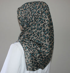 Turkish Yazma Hijab Leopard Teal Brown