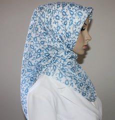 Square Hijab Vine - Blue