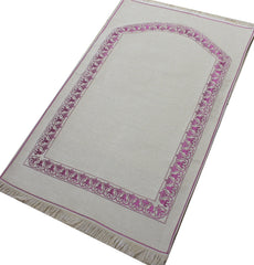 Turkish Muslim Prayer Mat Chenille Solid White Ivory