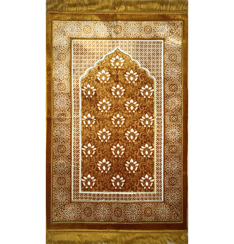 Plush Ipek Prayer Rug Gold Floral